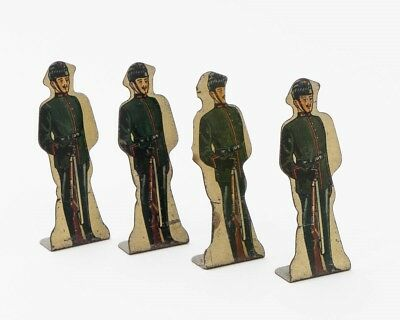 Marx Lot of 4 Vintage Tin Litho Toy Soldiers #10 King's Royal Rife Corps 3.5""