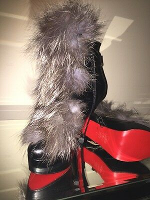 Black Ankle Boots Real Leather/fur Size Uk5/Eu38