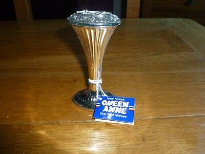 "Delightful Little VTG ""Mayell"" Queen Anne Silver Plated Vase 12cm High"