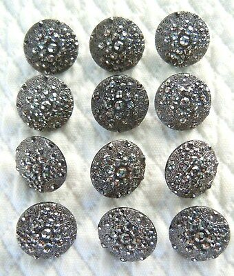 Set 14 Antique Victorian Sewing Buttons Black Glass Iridescent Luster-Dated 1891