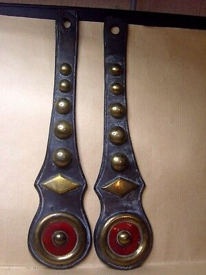 Vintage Horse Brass Red Bulls Eye And Brass Diamond With Roundels  On Leather