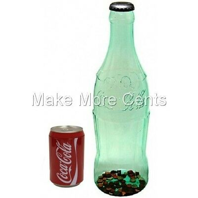 """Coke Coca-Cola Coin Bottle Bank Combo - Giant 23"""" Bottle and 8"""" Can Bank"""