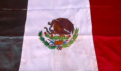 Mid Century 1950's Mexico Ceremonial Flag Embroidered Satin Bandera Mexican