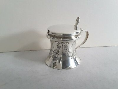 Nice Engraved Antique Solid Silver Spool- Shape Mustard Pot.  Birmingham 1905.