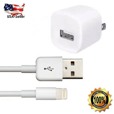 for Apple iPhone 6 6s Plus 5 5c USB Lightning Cable Cord + Wall Charger Adapter