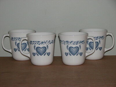 Set Of 4 Corning Usa White Glass Mugs Blue Hearts Excellent