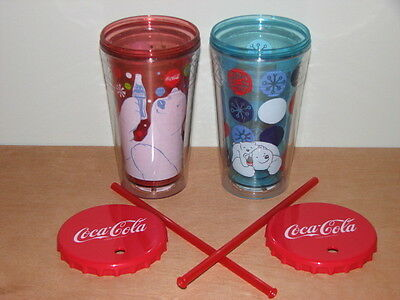 2 COCA COLA CO. DOUBLE WALL INSULATED SIPPY CUPS HOT/COLD w/ LID STRAW CHRISTMAS