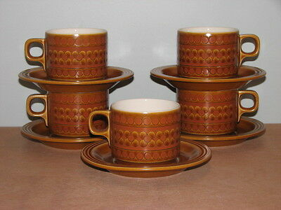 Set of 5 1974 Retro HORNSEA ENGLAND SAFFRON Brown Flower Cup and Saucers Super!