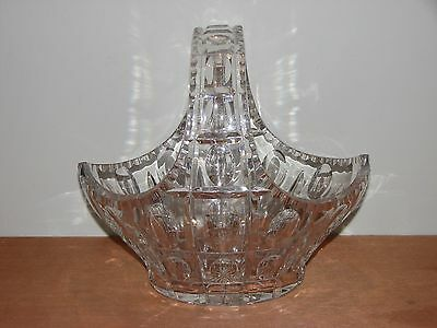 "Gorgeous Vintage Heavy Lead Crystal Thumbprint Basket c 1960s 10"" long 9.5"" tall"