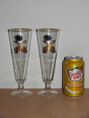 2 TALL STEMMED BOWLING PINS & BALL PILSNER BEER DRINK GLASSES RETRO BARWARE 10oz