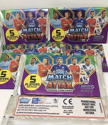 50 New TOPPS MATCH ATTAX 2015/16 Trading Cards Unopened Premier League 2016 2015