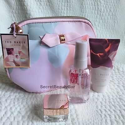 TED BAKER Beauty To Behold Gift Set Makeup Bag + Lip Balm Body Spray Hand Cream