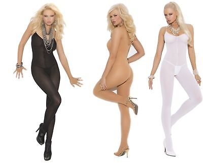 Elegant Moments, Spaghetti Strap Opaque Bodystocking, Black, White, Nude, 8-18