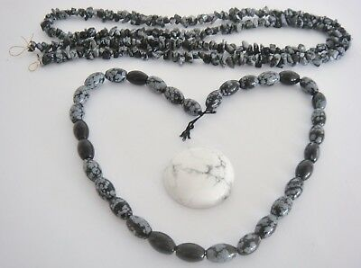 Snowflake Obsidian, nuggets & Ovals & a white Howlite cabochon. 3 Item bundle