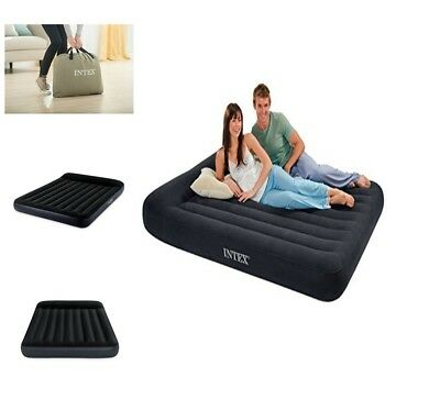 New Intex Queen Home Air Mattress Bed With Built In Electric Pump Pillow Rest