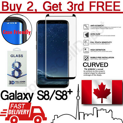 For Samsung Galaxy S8 S8+ Case Friendly Curved Tempered Glass Screen Protector