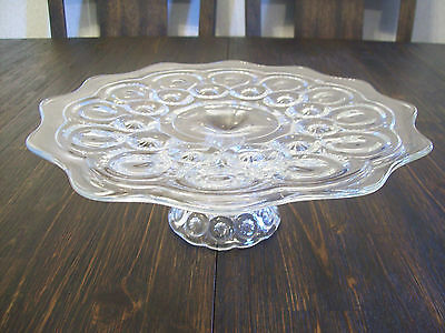 "L E Smith Glass Crystal Clear Moon & Stars 12"" Pedestal Cake Plate"