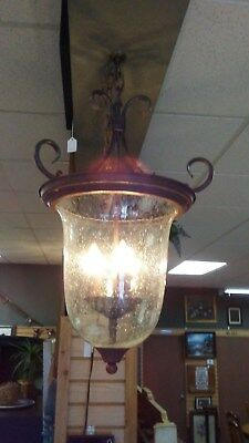3-light Seeded Glass Foyer Fixture, Antique Bronze EUC