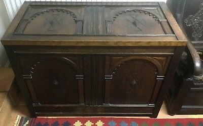 Antique Oak Gothic Style Carved Blanket Box Coffer Trunk Toy Chest