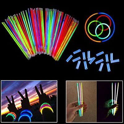 Glow Sticks Bracelets 8 Inch - 100 Pack in Assorted Colors With 100 Connectors G