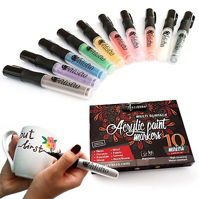 Permanent paint markers. Best marker pens for rocks,ceramic, glass. 10 count med
