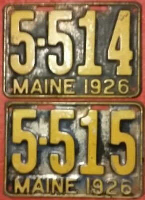 Rare Find In Sequence 1926 Maine License Plates Tag Vintage Antique Old