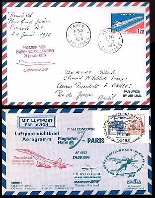 1976 / 1996 Two Af Concorde Flown Aerogramme_Paris-Rio/ Flughafen Hahn-Paris