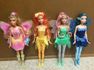 Barbie Fairytopia Elina Light Up Fairy Root Lash Dandelion Dahlia Azura Doll Lot