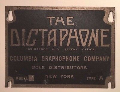 Antique Brass Label: THE DICTAPHONE / COLUMBIA GRAPHOPHONE COMPANY