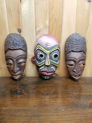 African Tribal Masks Mixed Set Of 3 Hand Carved