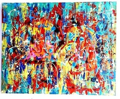 """"""" PRIMAL CODE B """" ORIGINAL PAINTING ON CANVAS by ANNETTE SABBAH - SIGNED"""