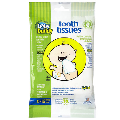 Baby Buddy Tooth Tissues Dental Wipes, Bubble Gum, 30 Count