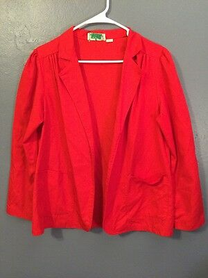 Vtg 70s Basic Red Blazer Career Pleated Shoulders Open Front Pockets M/L
