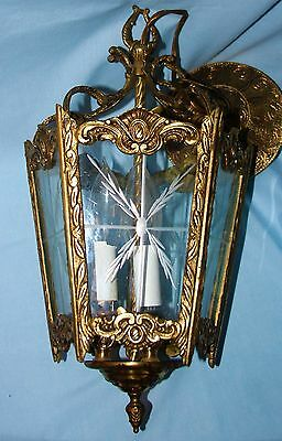 Vintage Spanish Brass 5 Sided 3 Light Ceiling Pendant Light Chandelier Lamp