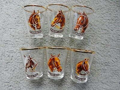 English Horse Sherry Glasses X 6