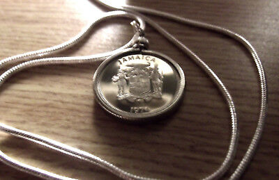 1974 Jamaican Butterfly Coin Pendant w/ 18k White Gold Filled Round 2.1mm Chain