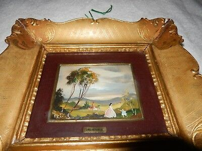 Framed Painting glass enamel on copper Victorian Mom & Daughter Playing Signed