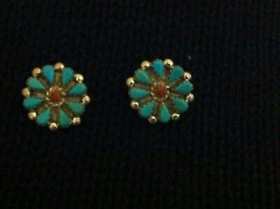 Gorgeous Old Pawn Turquoise/Coral & Sterling Silver Earrings