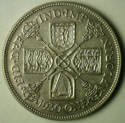 1930 Silver British Florin 2 Shilling UK United Kingdom Coin XF