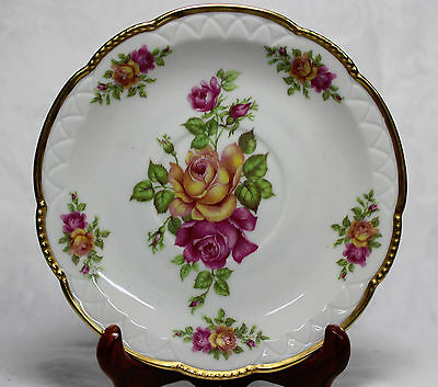 """Pretty Mitterteich Bavaria Germany 086, Pink &Yellow Roses 6"""" Saucer, Heavy Gold"""