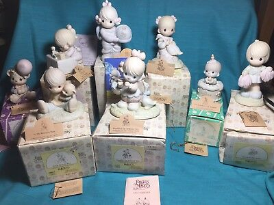 WONDERFUL Condition 8 Piece Precious Moments Lot With Boxes Papers 80's 90's