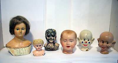 Lot of 6 Antique Metal Minerva Composition Parson Jackson Disney Dopey Doll Head