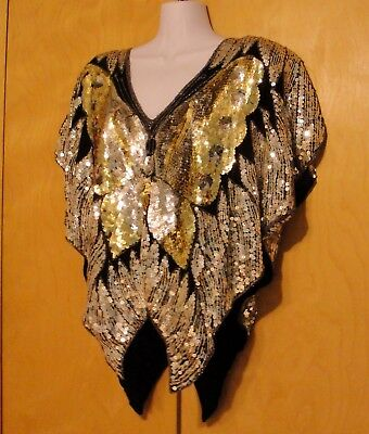 VTG 1970 SEQUIN Butterfly SILK Top DISCO Silver Black Blouse Large COSTUME India