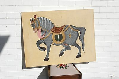 Large antique Indian painting of a prancing stallion.