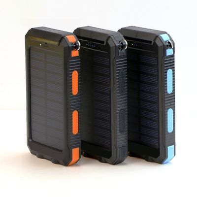 Waterproof 300000mAh Solar Power Bank 2x USB Battery Portable Charger for Phones