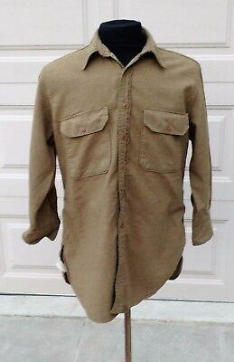 WWII US Army Wool OD 33 Enlisted Shirt size  15 1/2 x 32