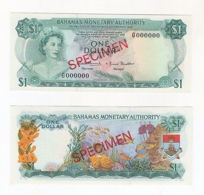 SPECIMEN Bahamas Monetary Authority $1 Dollar 1968 P-27s Crisp Banknote Currency