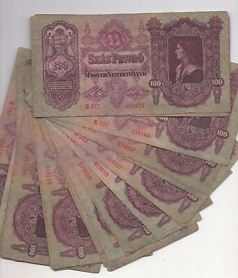 H19 Hungary 100 Pengo 1930 1944-45 Banknotes P-98 Lot / 20 Paper Money Inflation