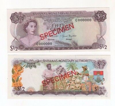 SPECIMEN Bahamas Monetary Authority 50 cents 1968 P-26s Crisp Banknote Currency