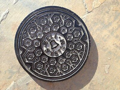 """Bell System Telephone Paperweight - Manhole Cover ( Vintage Utilities 4"""" ~10oz )"""